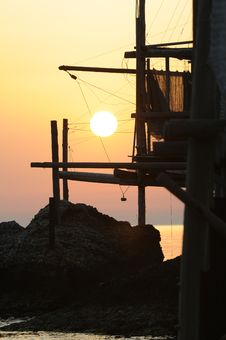 Free Trabocco Into The Sunset Stock Image - 5571401