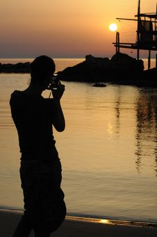 Free Trabocco Into The Sunset Royalty Free Stock Photography - 5571417