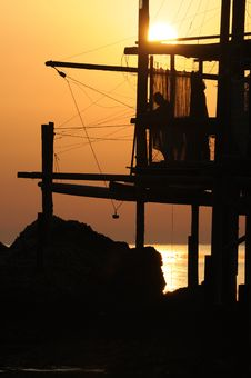 Free Trabocco Into The Sunset Royalty Free Stock Image - 5571426
