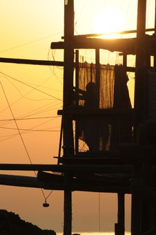 Free Trabocco Into The Sunset Royalty Free Stock Images - 5571429