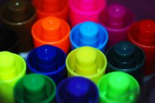 Free Coloured Pen Lids Royalty Free Stock Photo - 5572255
