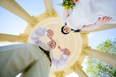 Free View From Bottom To Bride And Groom Royalty Free Stock Image - 5572536