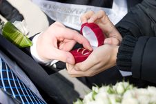 Free Groom Takes Off Wedding Rings Royalty Free Stock Photos - 5572718