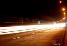 Car Lights On Highway Stock Photos