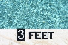 3 Feet Deep Marking On Edge Of Swimming Pool Royalty Free Stock Image