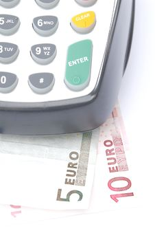 Free Credit Card Machine With Euros Stock Photography - 5574832