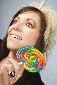 Free Creative Businesswoman With A Lollipop Royalty Free Stock Image - 5575716