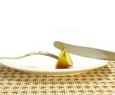 Apple On A White Plate Stock Photography