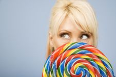 Free Woman With A Lollipop Royalty Free Stock Photography - 5576817
