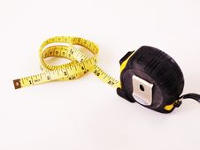 Floppy Measuring Tape Out Of Steel Measuring Tape Stock Photos