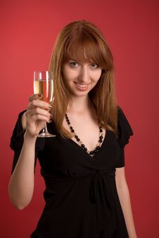 Free Beautiful Girl With Champagne Glass Stock Photos - 5577443