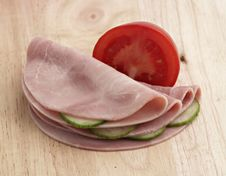 Free Ham With Vegetables On Wooden Board Stock Photo - 5578760