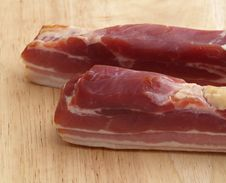 Smoked Bacon On Wooden Board Stock Photos