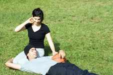 Free Man Holding Basketball With Woman In Grass - Hori Royalty Free Stock Photos - 5579418
