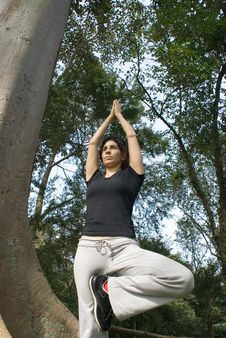 Woman Performing Yoga - Vertically Framed Sh Stock Images