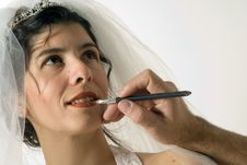 Woman Putting Lip Liner On - Horizontal Royalty Free Stock Image