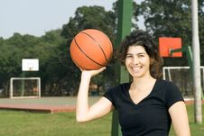 Free Woman Holding Basketball - Horizontal Royalty Free Stock Photos - 5579888