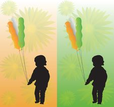 Free Kid With Tricolor Balloons On Two Backgrounds Royalty Free Stock Photo - 5580415