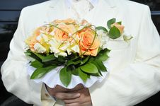 Groom With Bouquet Stock Photos
