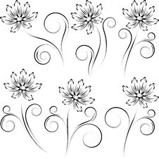 Collection From  Silhouettes Of A Flower Royalty Free Stock Photo