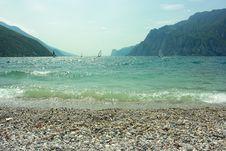 Surfers On Garda Lake Stock Images