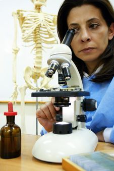 Scientist At Her Lab Stock Photos