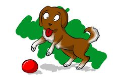 Free Lucky Dog With Red Ball Stock Image - 5583451