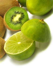 Ripe Kiwis And Limes Stock Photo