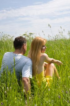 Free Attractive Couple Enjoying Togetherness On Meadow Royalty Free Stock Photography - 5583917