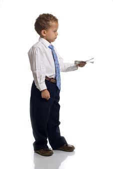 Free Young Boy Dressed As Businessman Holds Money Royalty Free Stock Photography - 5584487