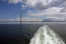 Free Sprogo Bridge And Cruise Ships Wake Horizontal Stock Image - 5585551