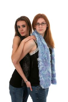 Serious Sisters Royalty Free Stock Image