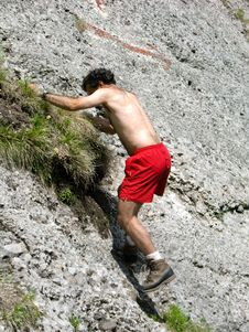 Free Climber Man On Mountain Royalty Free Stock Image - 5587576