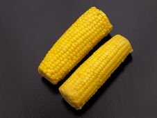 Two Sweet Corn On The Cob. Royalty Free Stock Photos