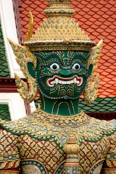 Green Ramakien Statue Stock Photography