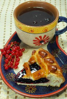 Bilberry Pie And Cup Of Tea Stock Photo