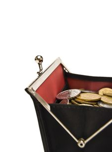Free Purse And Coins On A White Royalty Free Stock Image - 5588996