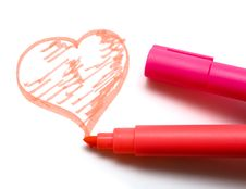 Free Highlighter Pens And Heart Stock Images - 5589564