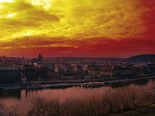 Free Sunset Over Prague Royalty Free Stock Photo - 5589715