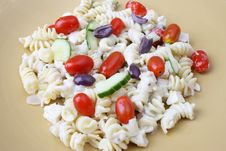 Free Pasta Salad In Yellow Plate Royalty Free Stock Photography - 5589717