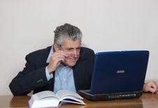 Free Businessman At Computer Stock Image - 5589971