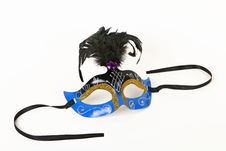 Free Blue Venetian Mask With Feather Stock Photography - 55874522