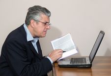 Free Businessman At Computer Stock Photography - 5590092