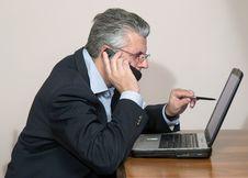 Free Businessman At Computer Stock Photo - 5590190