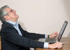 Free Businessman At Computer Stock Image - 5590211