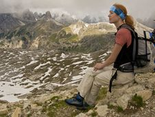 Free Trekking Woman At Rest Royalty Free Stock Photo - 5590245