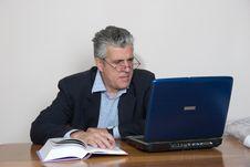 Free Businessman At Computer Stock Image - 5590251