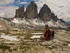 Free Woman In Mountains,Tre Cimes Stock Photography - 5590482