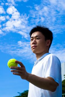 Free Aisan Tennis Player Stock Image - 5592101