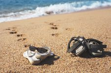 Free Two Pairs Of Beach Shoes Stock Image - 5594211